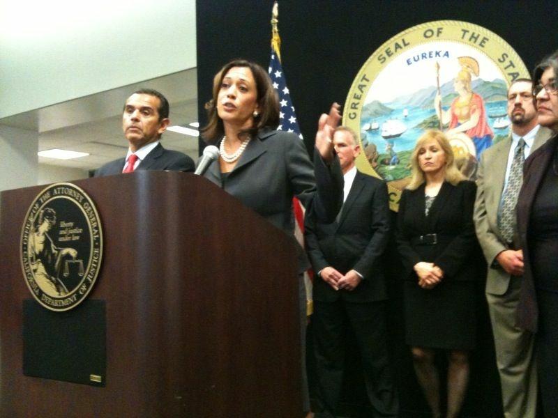 California Attorney General Kamala Harris announces her new Mortgage Fraud Strike Force in Los Angeles Monday. Mayor Antonio Villaraigosa joined her.