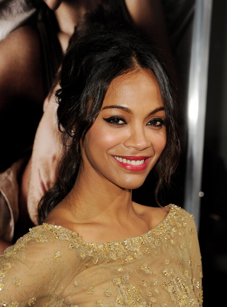 Actress Zoe Saldana arrives at the premiere of CBS Films'