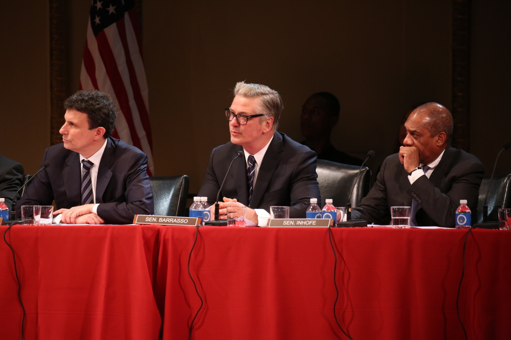 "(Left to right) David Remnick, Alec Baldwin, and Joe Morton portray Senators Carper, Barrasso, and Inhofe in the new play, ""All the President's Men?"""