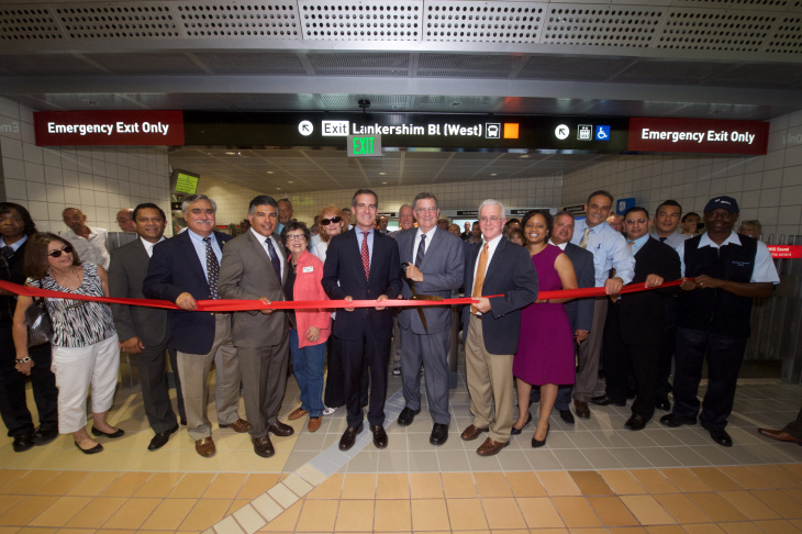A photo of a ribbon-cutting at the opening of a new pedestrian underpass connecting the Red and Orange lines in North Hollywood on Monday, Aug. 15, 2016.