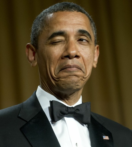 US President Barack Obama winks