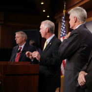 Sen. Lindsey Graham (R-SC), Sen. Ron Johnson (R-WI), Sen. Bill Cassidy (R-LA) and Sen. John McCain (R-AZ) hold a news conference to say they would not support a 'Skinny Repeal' of health care at the U.S.
