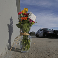 Flowers are left by the side of the road as a San Bernardino police officer blocks the road leading to the site of last week's mass shooting on Thursday, Dec. 3, 2015 in San Bernardino. (AP Photo/Chris Carlson)