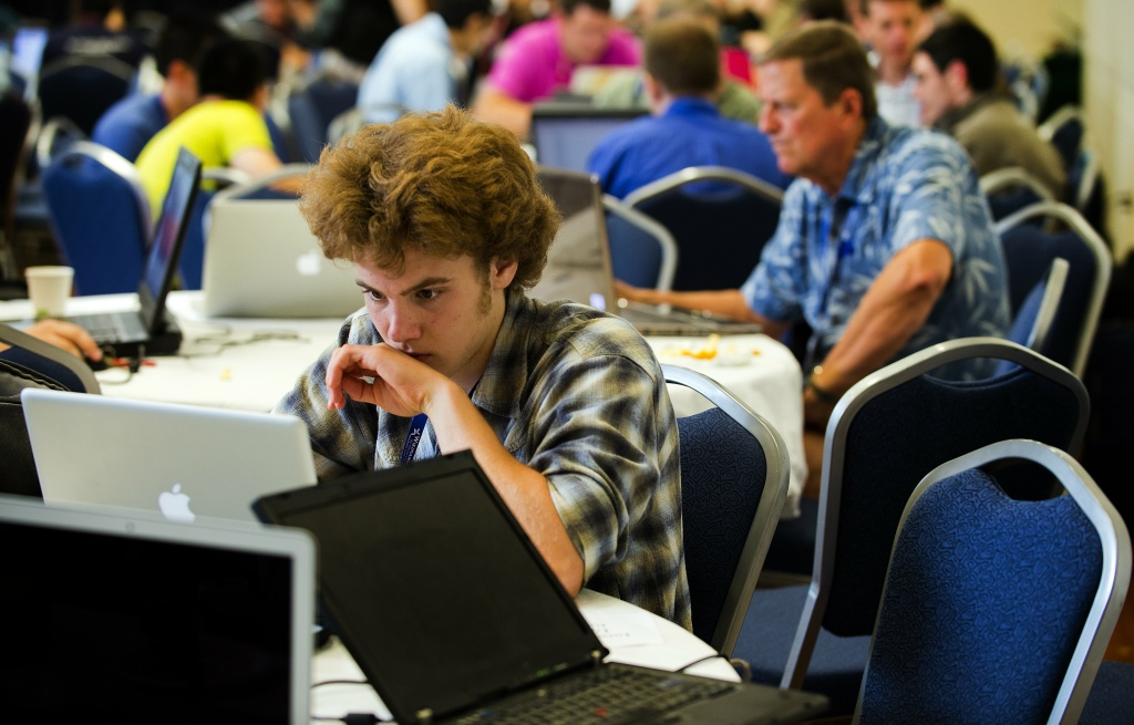 Computer hackers participate in the Wikimania Hackathon at George Washington University in Washington, DC, July 10, 2012.