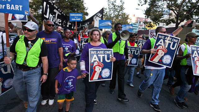 About 400 BART workers and union supporters gathered in Oakland on August 1, 2013 to rally in support of BART workers.