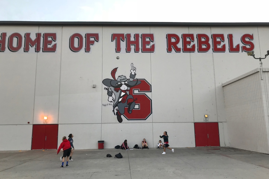 A mural at Savanna High School showing the school's mascot, Johnny Rebel. The school board that oversees Savanna voted on Nov. 6 to rebrand the mascot, removing all references to the Confederacy.