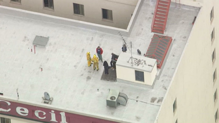 The Hotel Cecil in downtown Los Angeles, where Canadian tourist Elisa Lam was last seen. On Tuesday, Feb. 19, workers discovered a body in one of four rooftop water tanks.