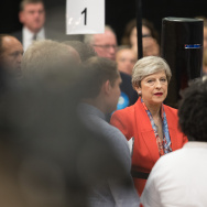 British Prime Minister and Conservative Party leader Theresa May arrives at the declaration at the election count at the Magnet Leisure Centre on June 9, 2017 in Maidenhead, England.