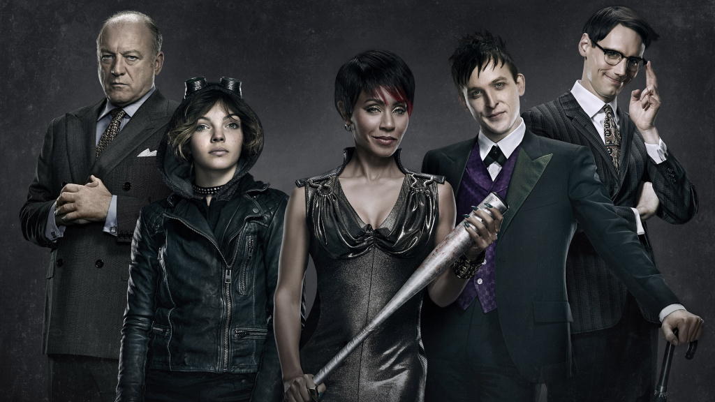 Fox's <em>Gotham</em> stars (from left) John Doman, Camren Bicondova, Jada Pinkett Smith, Robin Lord Taylor and Cory Michael Smith. The show was recently criticized for initially selecting a white stuntwoman as a body double for a black guest star.