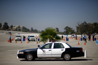 A patrol car belonging to the Los Angeles Police Department is parked while training excercises are conducted on July 6, 2009.