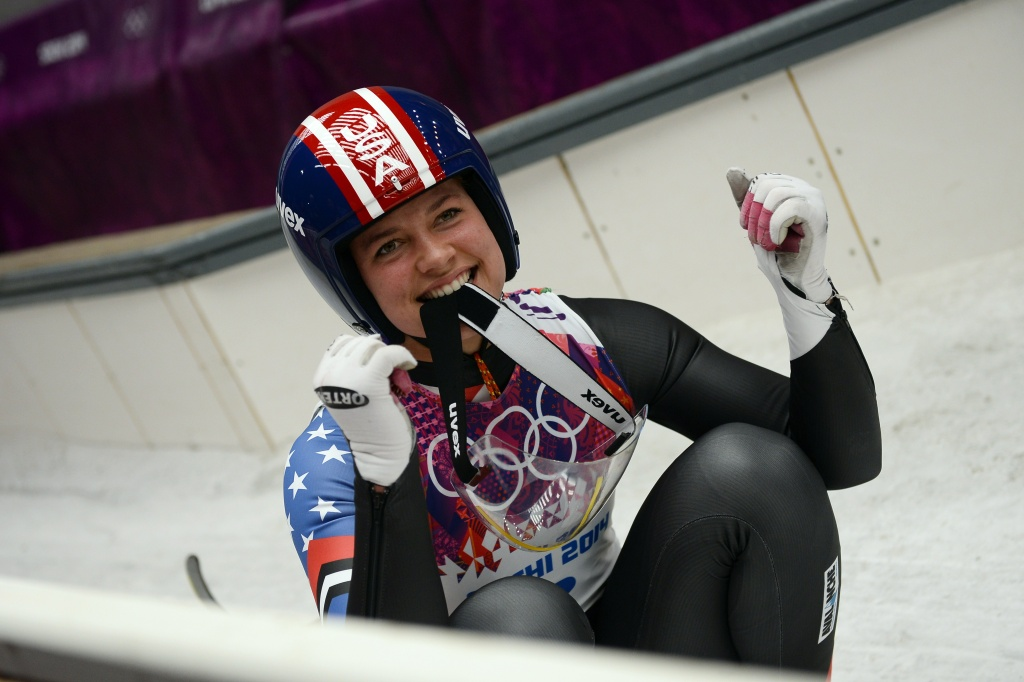 US Kate Hansen reacts as she finishes her Women's Luge Singles event final run at the Sanki Sliding Center during the Sochi Winter Olympics on February 11, 2014.