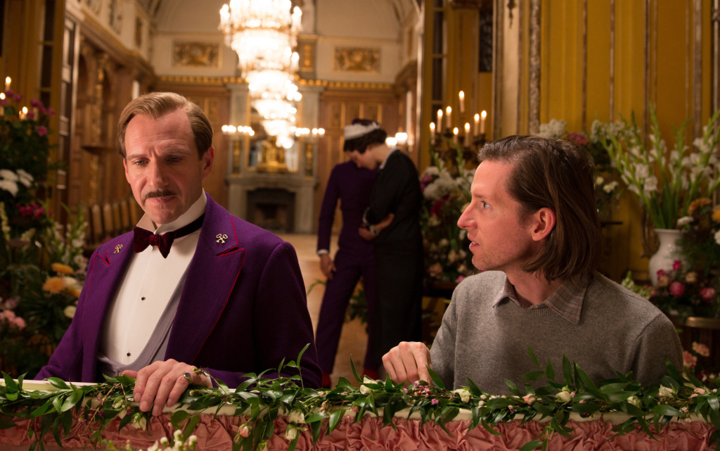 Ralph Fiennes (left) with director Wes Anderson on the set of