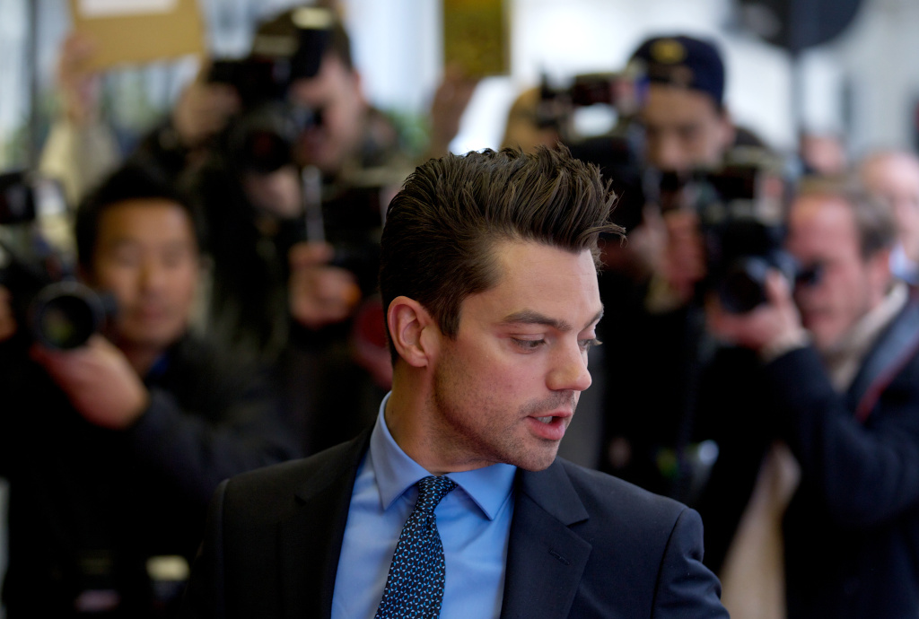 British actor Dominic Cooper poses on the red carpet as he arrives for the premier of the film 'Summer in February' in London in June, 2013.