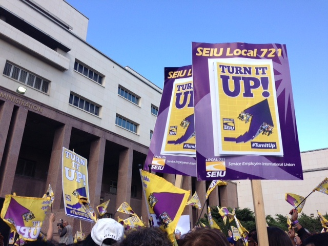 Thousands of LA County workers rallied outside the Hall of Administration Tuesday in support of pay raises, which they have not received since 2009.
