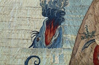 Detail from a medieval Spanish tapestry full of strange, apocalyptic images. Pictured: Frankenfish.