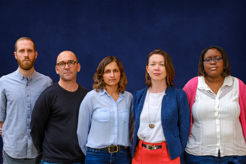 KPCC's investigations team. From left to right: Aaron Mendelson, Mike Kessler, Rina Palta, Annie Gilbertson and Dana Amihere.