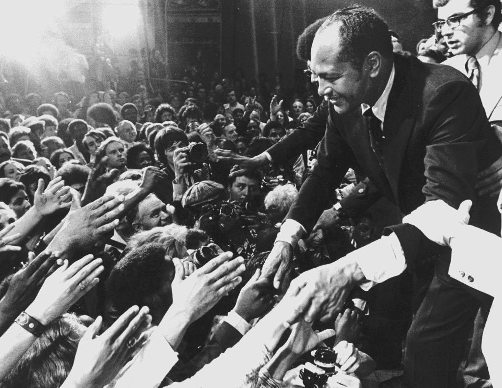 A1973 photo of Los Angeles Mayor Tom Bradley campaigning.