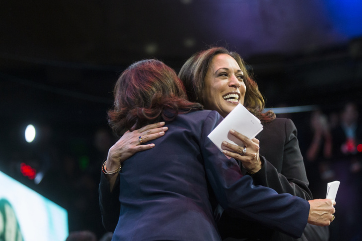 California U.S. Senate candidate and California Attorney General Kamala Harris hugs Los Angeles County Supervisor Hilda Solis before speaking during her election night watch party at The Exchange LA on Tuesday night, Nov. 8, 2016. California chose Harris as its new U.S. senator.