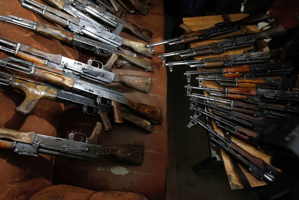 Unrelated photo of seized AK-47 weapons presented to the media in Kabul on January 5, 2012.