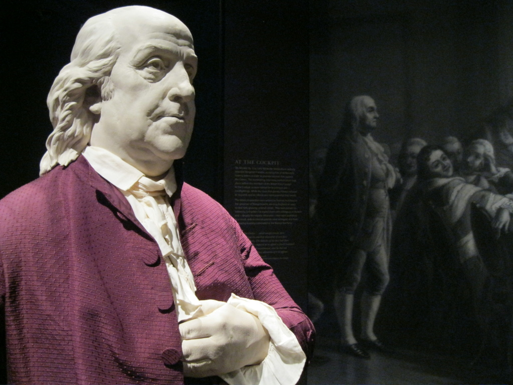 A life-like statue depicting Benjamin Franklin during a famous speech stands at the Bowers Museum in Santa Ana. The Franklin exhibit will be at the Bowers Museum until March.