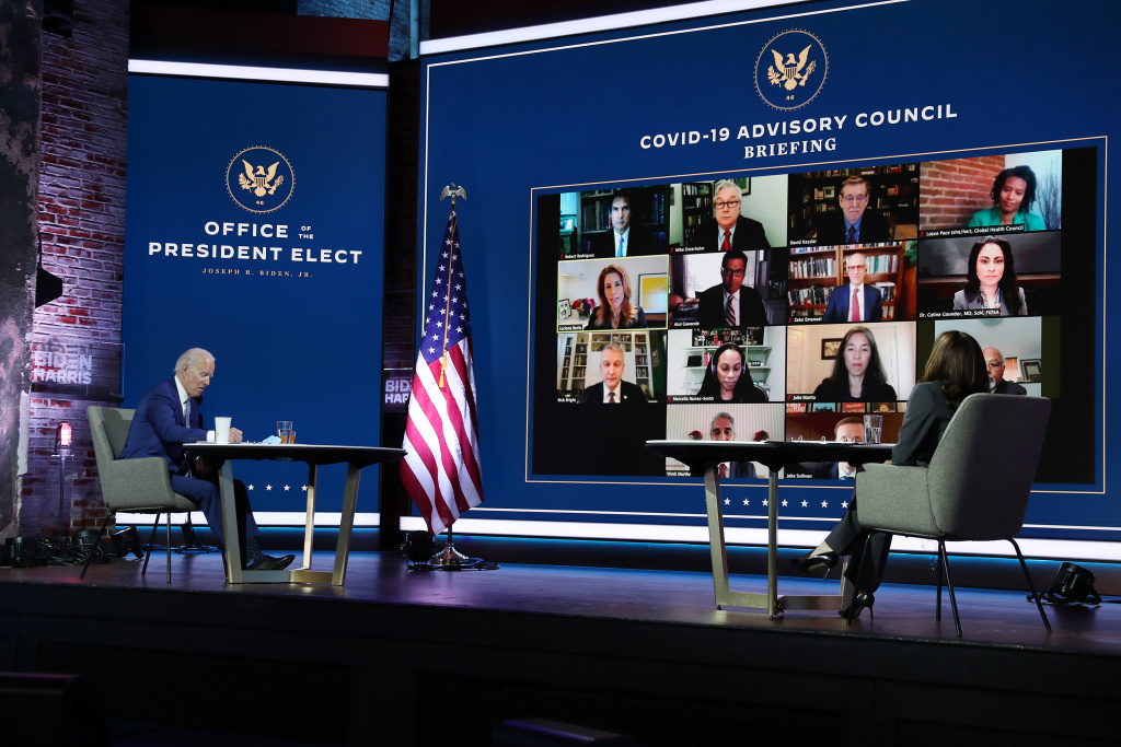 President-elect Joe Biden and Vice President-elect Kamala Harris receive a briefing from the transition COVID-19 advisory board on November 09, 2020 in Wilmington, Delaware.