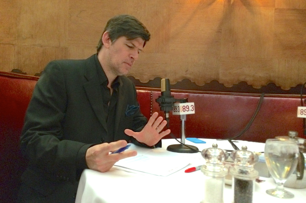 Host John Rabe preparing for a day of radio at Musso & Frank