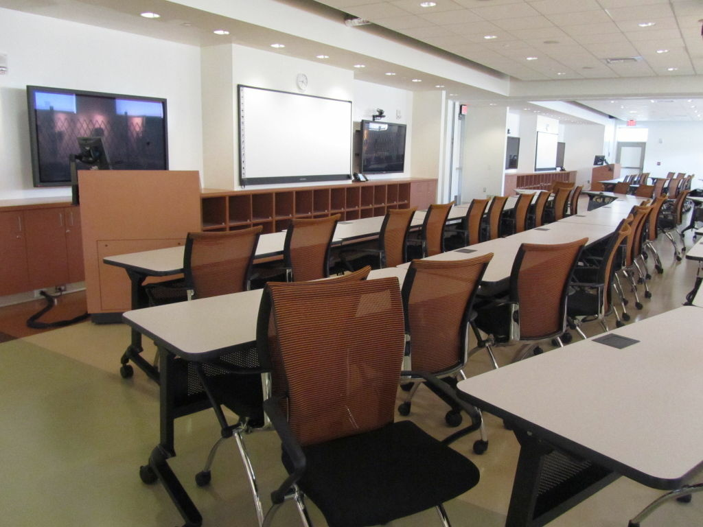 State-of-the-art classrooms inside the nursing school at Charles Drew University in South L.A. At one time, students weren't allowed to use the building because the university was behind on loan payments and contract language kept the building closed until that was rectified.