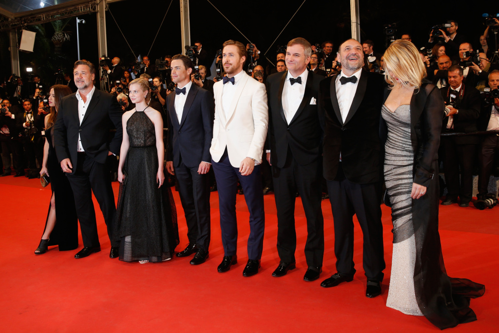 Actress Murielle Telio, Actor Russell Crowe, actress Angourie Rice, actor Matt Bomer, actor Ryan Gosling, director Shane Black, Producer Joel Silver and his wife attend