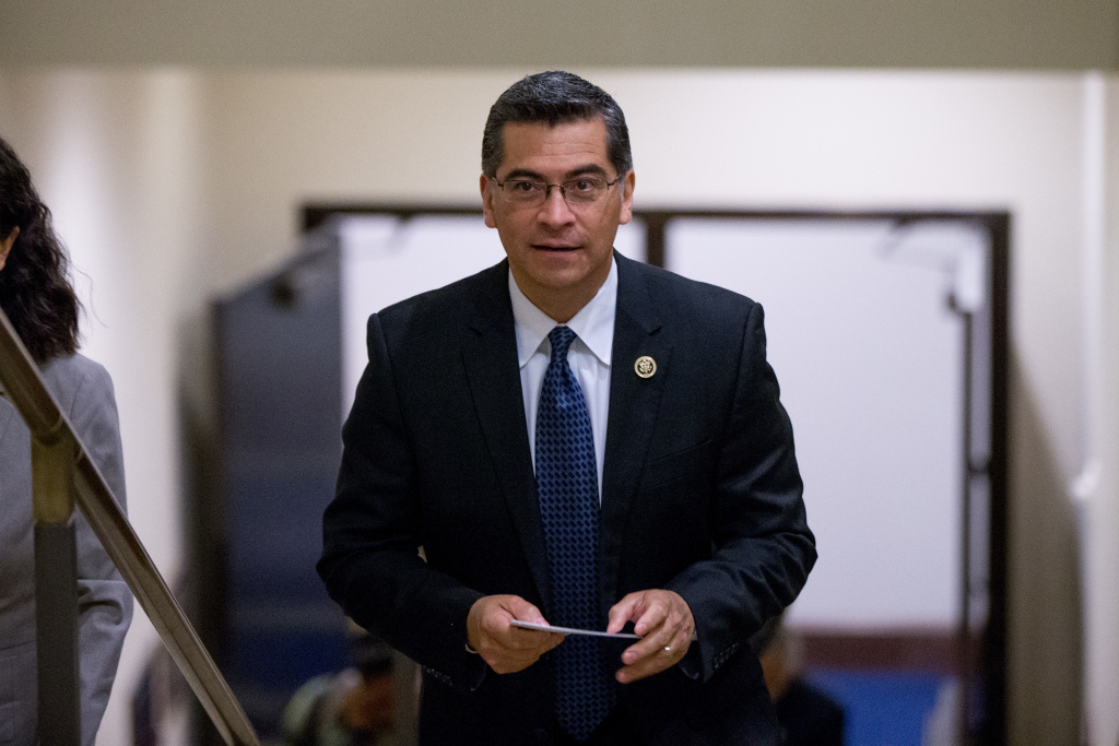 Democratic Caucus Chairman Xavier Becerra, D-Calif., arrives to speak at a news conference with other House Democratic leaders on Capitol Hill in Washington, Wednesday, May 11, 2016, to discuss how Donald Trump's rhetoric echoes the long-standing policy positions of House Republicans. (AP Photo/Andrew Harnik)