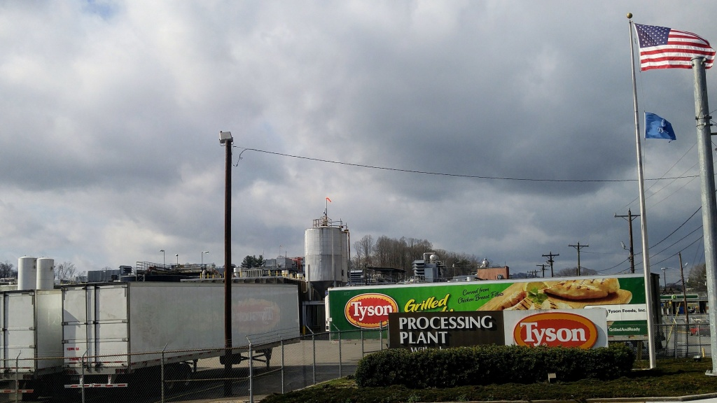 A quarter of the employees — 570 workers — at this Tyson poultry processing facility in Wilkesboro, N.C. have tested positive for the coronavirus.