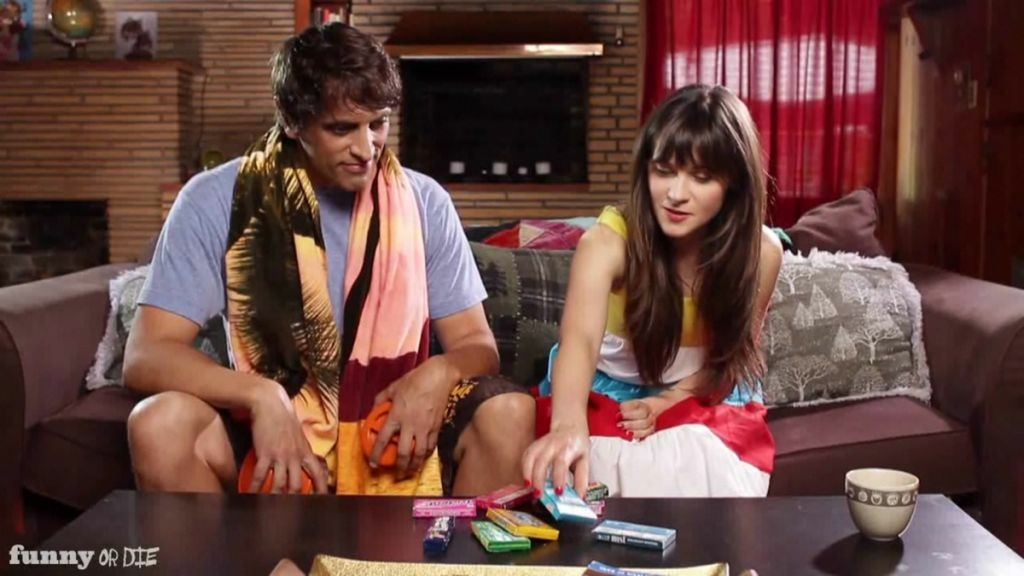 Howard Kremer and Zooey Deschanel as Zooey choose her summer gum in a Funny Or Die video.