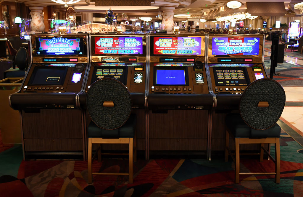 Socially-distanced video poker machines are shown with every other game out of service at Bellagio Resort & Casino on June 1, 2020 in Las Vegas, Nevada.
