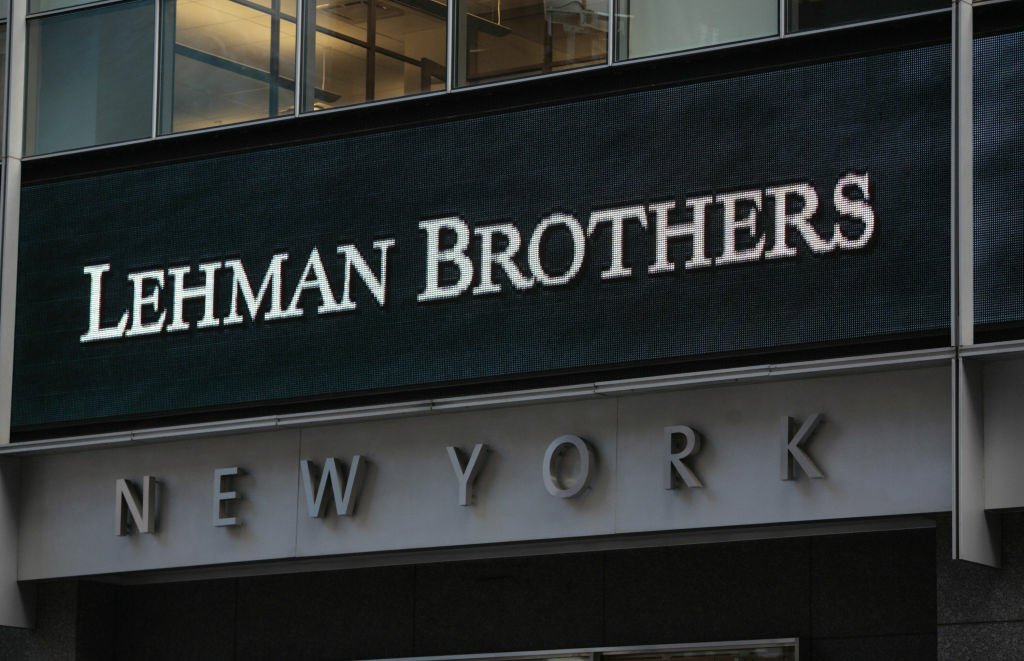 (FILES): This Sept. 15, 2008, file photo shows the sign for Lehman Brothers headquarters in New York.  The 158-year-old Lehman filed for bankruptcy protection on Sept. 15, 2008, in the largest US bankruptcy filing in history, leaving the future of 25,000 staff in jeopardy and sending a financial tsunami across the globe that continues to reverberate today.    AFP PHOTO / Files / Nicholas ROBERTS (Photo credit should read NICHOLAS ROBERTS/AFP/Getty Images)