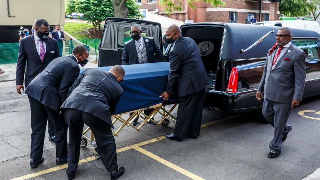The remains of George Floyd are taken to a memorial service in his honor on June 4 in Minneapolis, Minnesota. On May 25, Floyd, a 46-year-old black man suspected of passing a counterfeit $20 bill, died in Minneapolis after Derek Chauvin, a white police officer, pressed his knee to Floyd's neck for almost nine minutes.