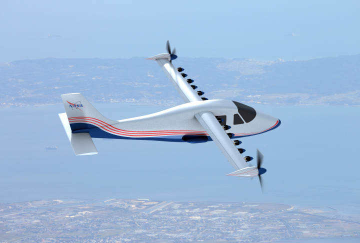 This artist's concept of NASA's X-57 Maxwell aircraft shows the plane's specially designed wing and 14 electric motors. NASA Aeronautics researchers will use X-57 to demonstrate that electric propulsion can make planes quieter, more efficient and more environmentally friendly.
