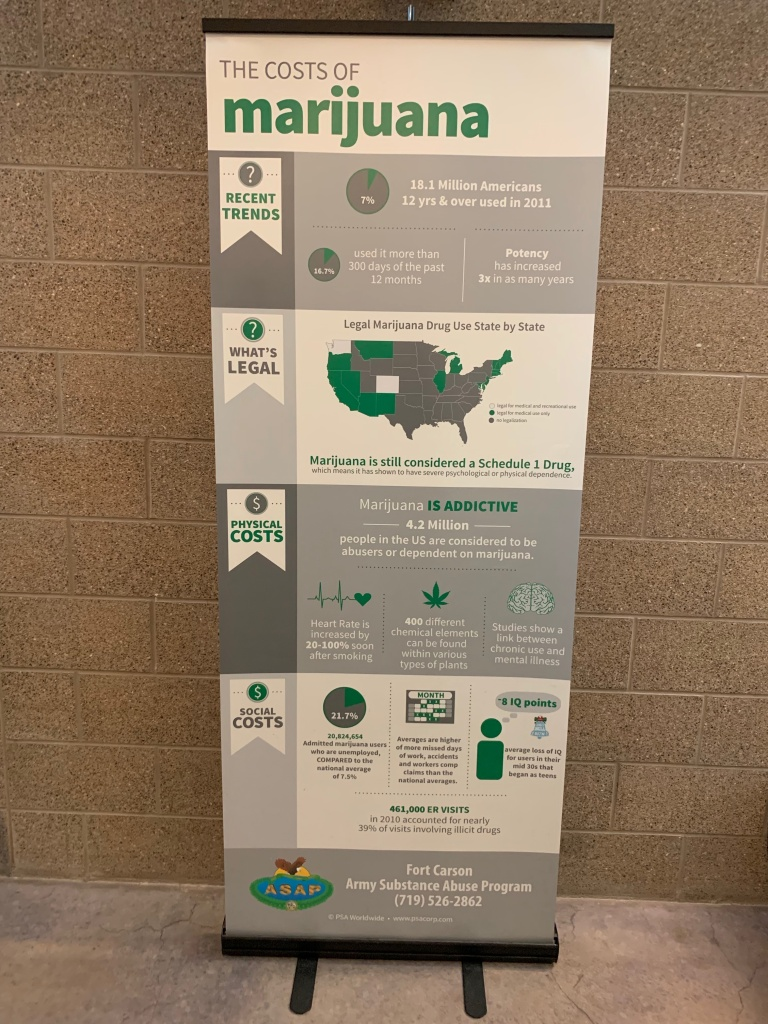 A poster at Fort Carson, Col. reminds soldiers that even though recreational marijuana is legal in Colorado, it's prohibited under military rules.