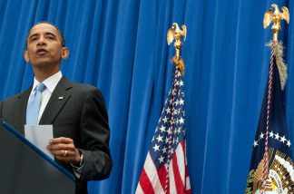 US President Barack Obama speaks about comprehensive immigration reform during a speech at American University School of International Service in Washington, DC, July 1, 2010.