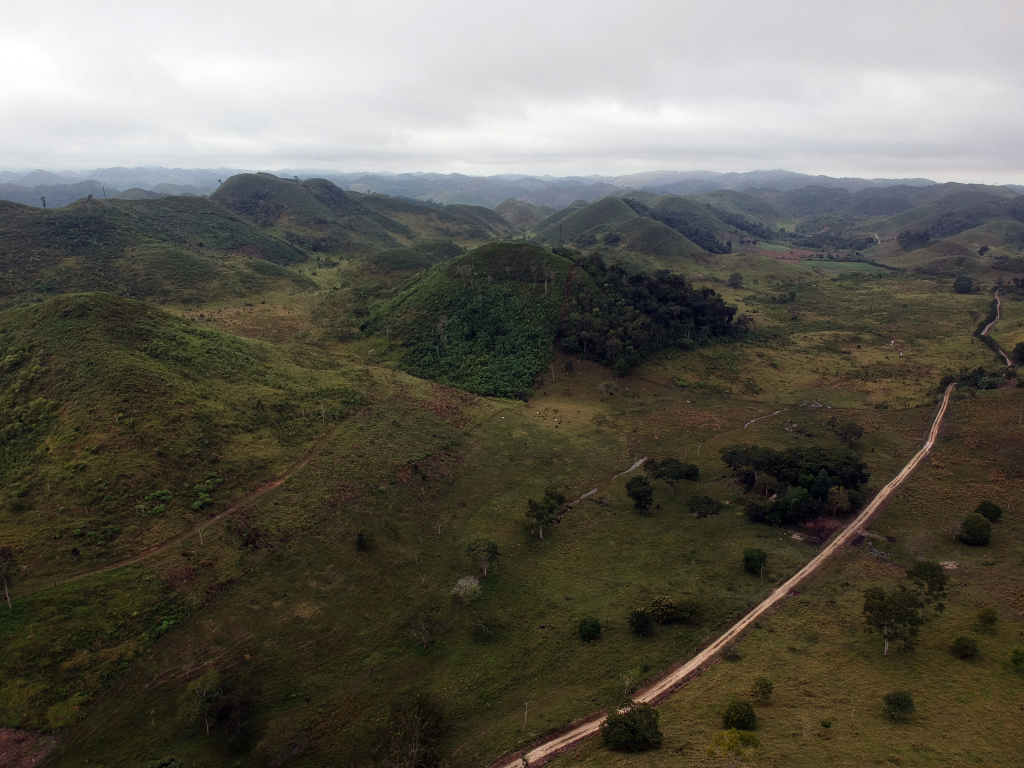 Aerial view of areas deforested by ranchers in the San Jose Las Flores community in the municipality of Melchor de Mencos, Peten department, 300 km north of Guatemala City, on January 19, 2018.