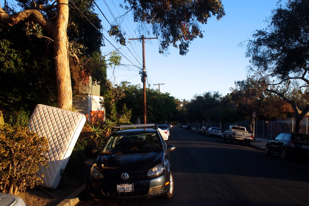Matt the Mattress, pictured waiting to be picked up curbside in Silver Lake