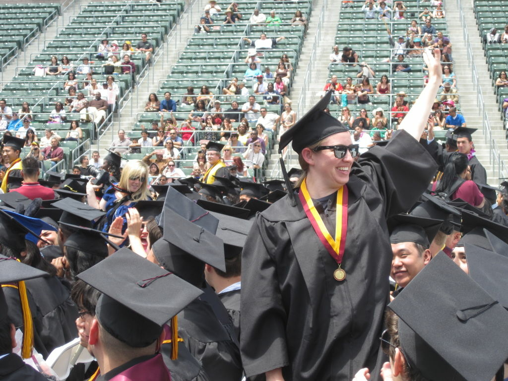 CSU Dominguez Hills staged four ceremonies on Friday to accommodate its 3,500 graduates along with their friends and family.