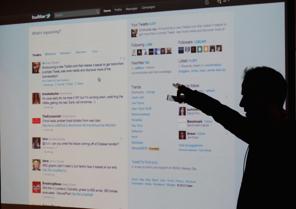 SAN FRANCISCO - SEPTEMBER 14:  Twitter CEO Evan Williams is seen silhouetted against a screen as he shows off the newly revamped Twitter website on September 14, 2010 at Twitter headquarters in San Francisco, California. Twitter launched a new version of the popular social media site in hopes it will be more user friendly. . (Photo by Justin Sullivan/Getty Images)