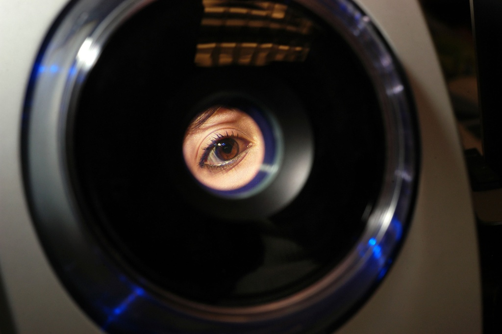 Erika Jimenez, a fourth grade teacher in the school district, has her iris recorded into the iris recognition system at Park Avenue Elementary School January 30, 2006 in Freehold, New Jersey. Iris recognition systems use a video camera to record the colored ring around the eye's pupil, identifying the unique markings in the iris which identify each person.