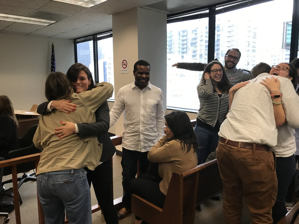 Los Angeles Times staffers react to a vote in favoring of unionizing newsroom employees, Jan. 19, 2018.