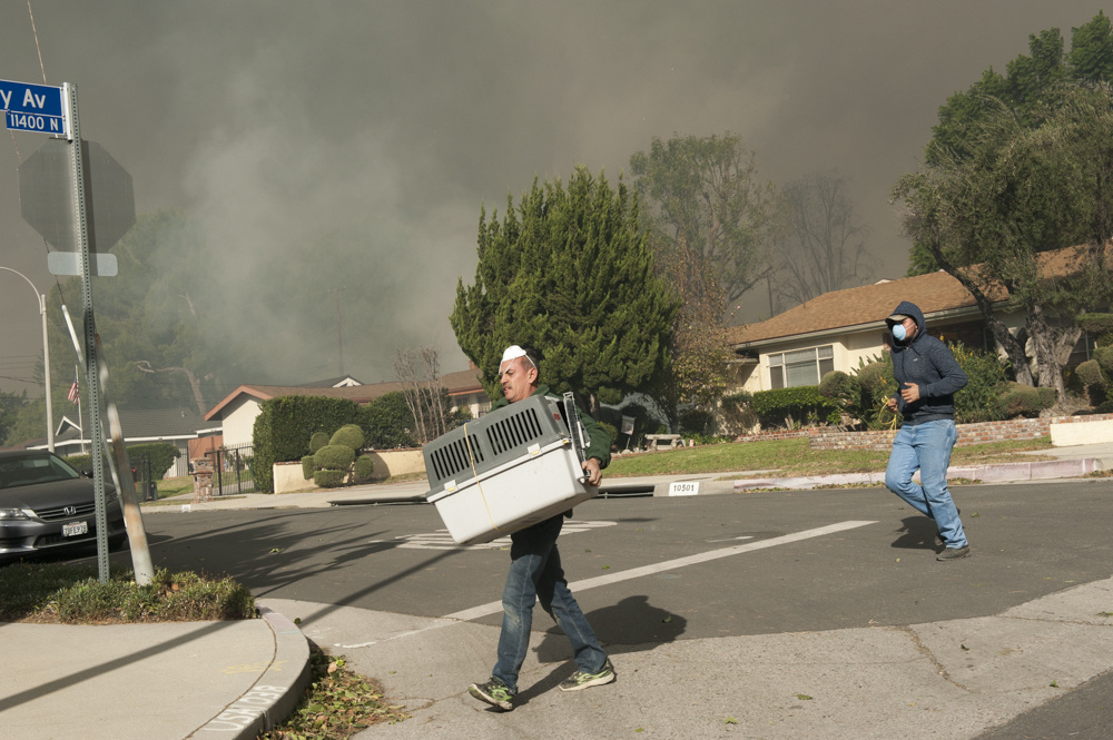 Chu Godinez carries an animal crate containing a chicken as he and Paco Santan evacuate near the edge of the Creek Fire in Lakeview Terrace on Dec. 5, 2017.