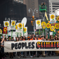 People protest for greater action against climate change during the People's Climate March on September 21, 2014 in New York City. The march, which calls for drastic political and economic changes to slow global warming, has been organized by a coalition of unions, activists, politicians and scientists.