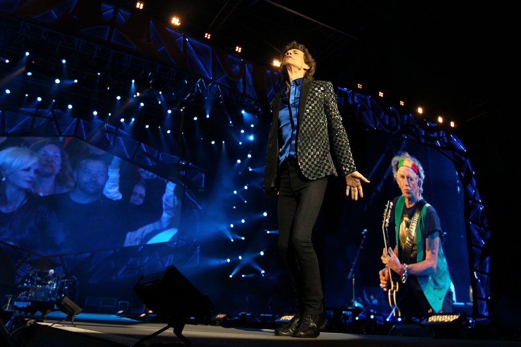 Mick Jagger sings as The Rolling Stones perform live at Mt Smart Stadium on November 22, 2014 in Auckland, New Zealand. The rock band announced a 15-city stadium tour Tuesday that will kick off May 24 at Petco Park in San Diego, California.
