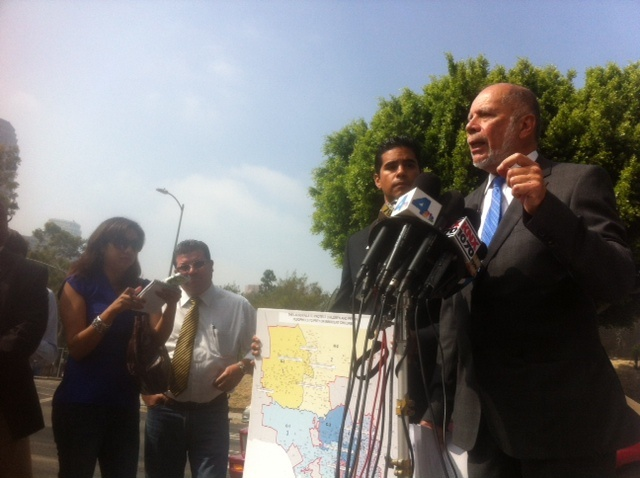 Attorney Luis Carillo outside the Los Angeles Unified district headquarters claiming neglect is widespread.