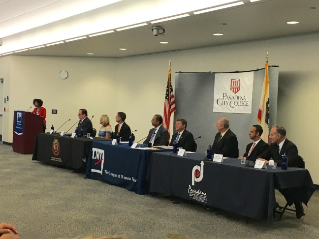 KPCC's Larry Mantle moderated a debate on May 26, 2016 among major candidates for the Los Angeles County Board of Supervisors District 5 seat.