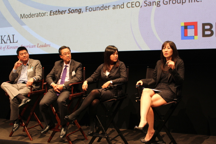 A panel at the 2013 annual meeting of the Network of Korean-American Leaders featured former fellows. (From l to r.) David Lee, sr. vice president at Best Buy; John Suh, CEO of Legal Zoom; Caroline Choe, CEO of New Bridge Investment and Hanna Yoon, managing director at Jamison Services, Inc.