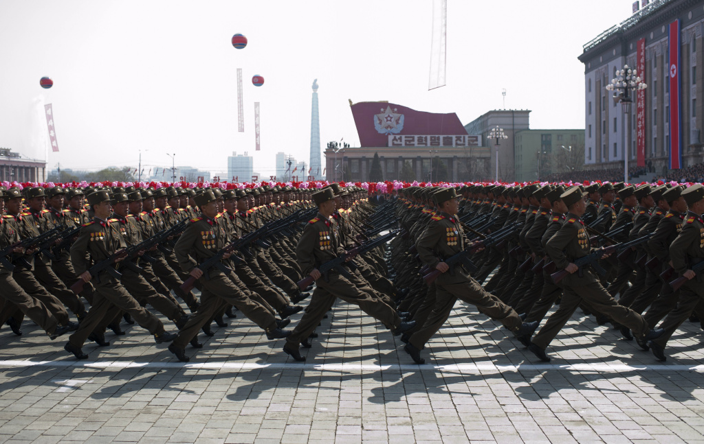 North Korean soldiers march during a military parade to mark 100 years since the birth of North Korea's founder Kim Il-Sung in Pyongyang on April 15, 2012. North Korea's new leader Kim Jong-Un delivered his first public speech on April 15 and vowed to push for